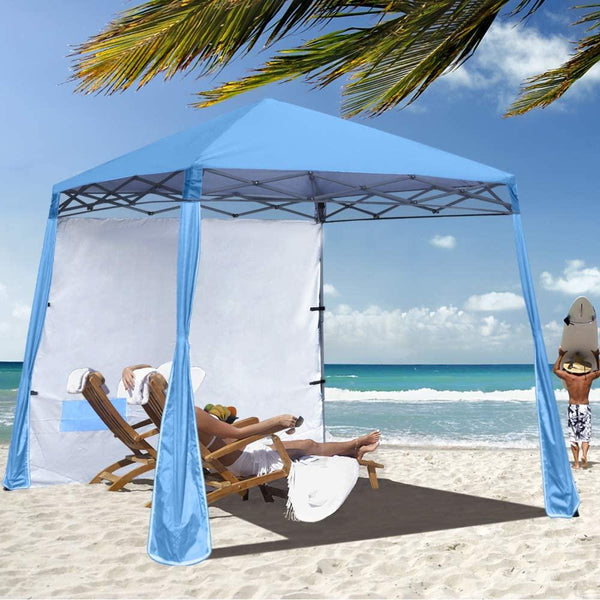 Sky Blue Beach Cabana Tent Pop Up Cool Sun Shade Umbrella For Beach - Morealis