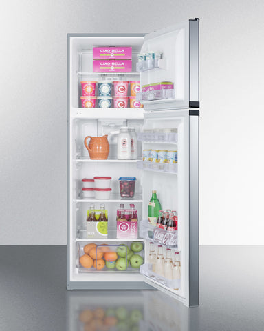 """Summit 22"""" Wide Top Mount Refrigerator-Freezer with Platinum Cabinet and Stainless Steel Doors"""
