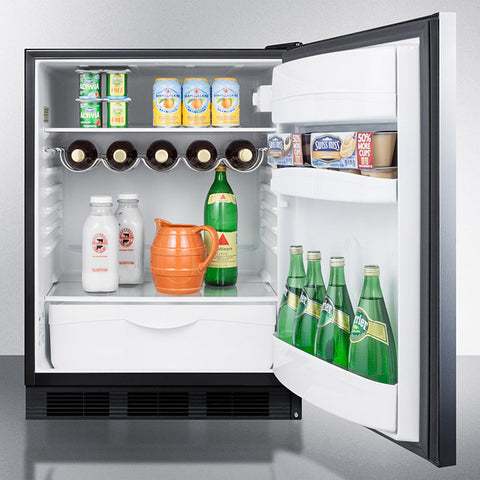 """Summit 24"""" Wide Built-In All-Refrigerator With Horizontal Handle"""