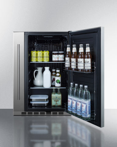 """Summit Shallow Depth 24"""" Wide Built-In All-Refrigerator With Slide-Out Storage Compartment"""