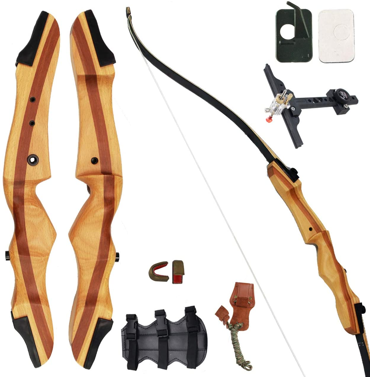 Takedown Recurve Bow Hunting Wooden Archery Bow Stringer for Right Left Hand - Morealis