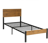Twin Heavy Duty Metal Platform Bed Frame Steel Slat Support w/ Wood Headboard - Morealis