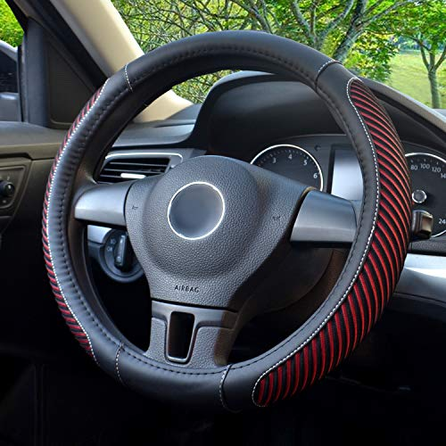 Premium Leather Steering Wheel Cover Best Steering Car Cover Universal 15 Inches - Morealis