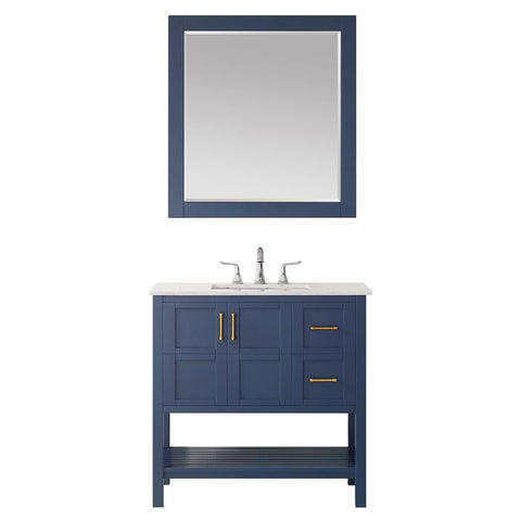 """Vinnova Florence 36"""" Vanity in Royal Blue with Carrara White Marble Countertop"""