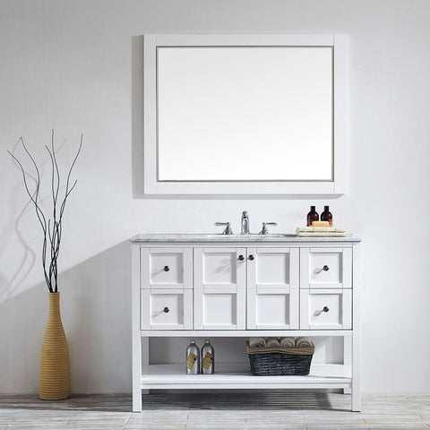 """Vinnova Florence 48"""" Vanity with Carrara White Marble Countertop with Mirror"""
