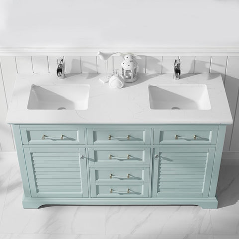 """Vinnova Lorna 60"""" Double Vanity with Composite Carrara White Stone Countertop without Mirror"""