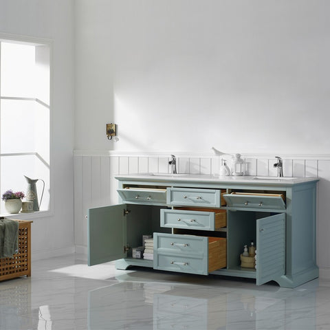 """Vinnova Lorna 72"""" Double Vanity with Composite Carrara White Stone Countertop without Mirror"""