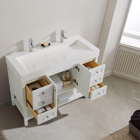 """Vinnova Pavia 48"""" Single Vanity with Acrylic under-mount Sink without Mirror"""