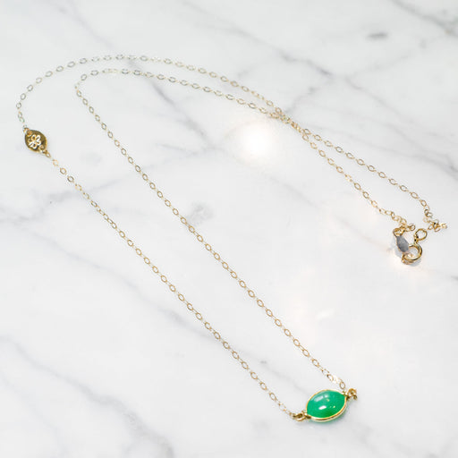 Jade Double Cinch Bezel Necklace