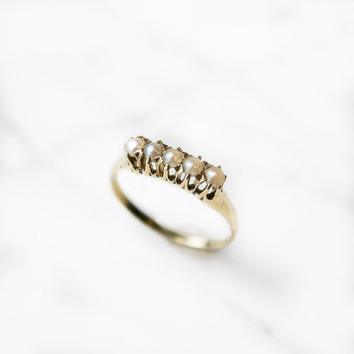 Natural Seed Pearl Gold Ring