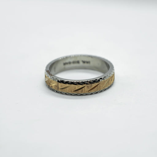14K two tone wedding band - VIN0009