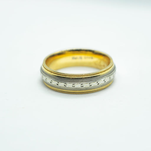 14k yellow and white gold wedding band - VIN0068