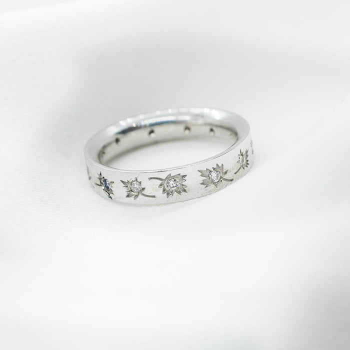 14K White Gold Band Engraved with Maple Leafs and Set With Diamonds