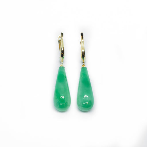 14K Yellow Gold Jade Teardrop Earrings.