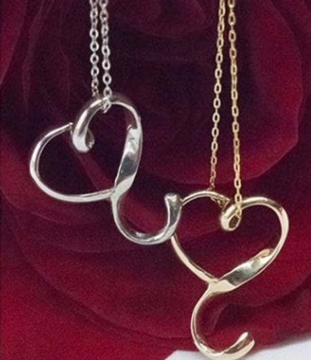 10k White Gold Heart Pendent and Chain