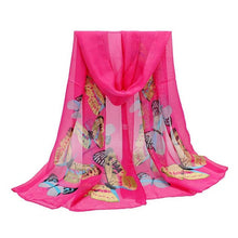 Load image into Gallery viewer, Summer Autumn Silk Scarf Fashion Women New New 2017 Chiffon Brand Butterfly Print Neck Shawl Scarve Warm Wrap Stole Scarves