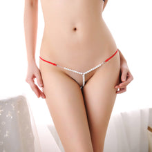 Load image into Gallery viewer, Sexy Women Pearl G-String And Thongs Solid Low Waist Underwear BK