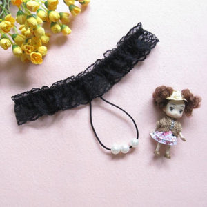 Sexy Lady Women Thongs G-string Lace Pearl Panties Lingerie Underwear BK
