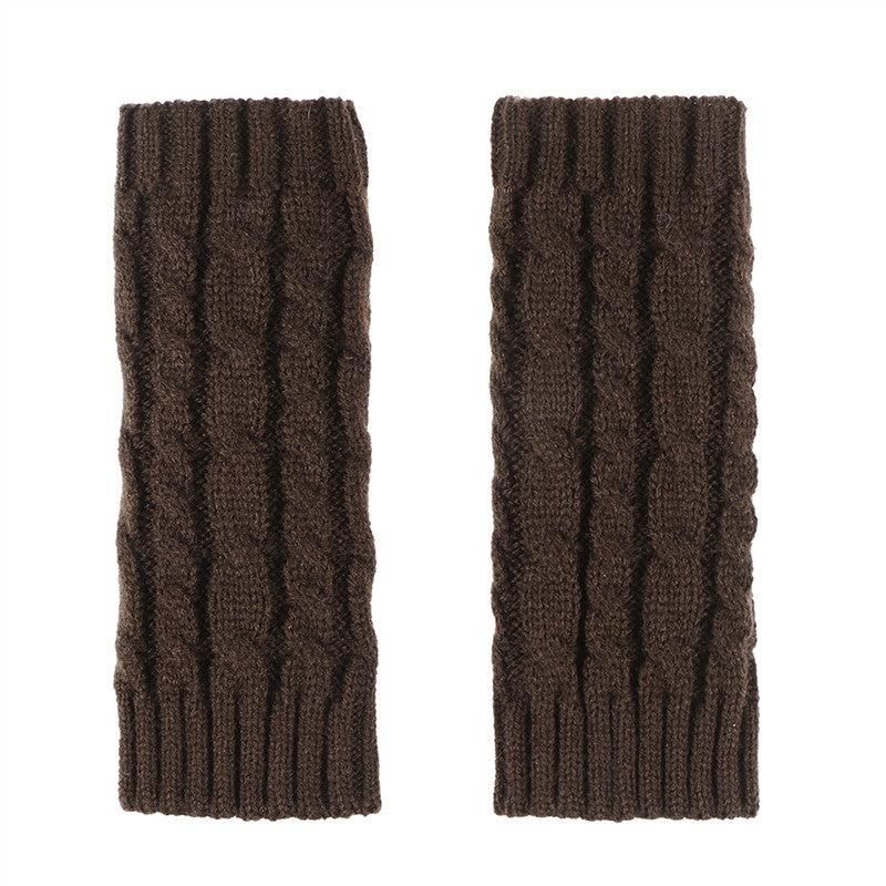 Unisex Winter Knitted Gloves Arm Sleeve Fingerless Long Warmers with Thumb Hole for Men Women