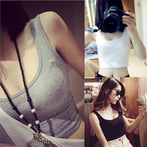 Women Tight Crop Top Skinny O-Neck T-Shirts Sports Dance Short Vest