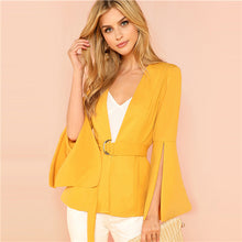Load image into Gallery viewer, SHEIN Yellow Split Sleeve Belted Outerwear Office Ladies Long Sleeve Plain Wrap Workwear Coat Women Autumn Elegant Clothes