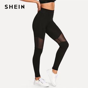 SHEIN Black Sporting Casual Sexy Contrast Mesh Contrast Skinny Solid Leggings Summer Women Trousers