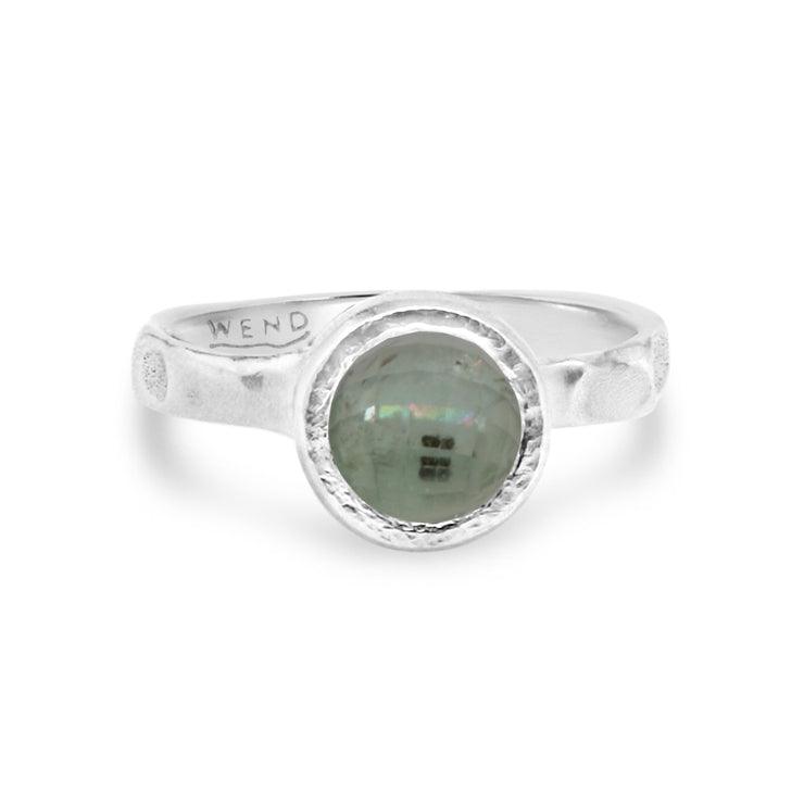 Tidepools ring band inspired by ocean tide pools with lab created diamond in certified recycled gold by WEND Jewelry
