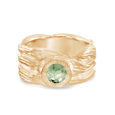 Roots ring bands look like branches or a branches ring with Montana Sapphire in certified recycled gold by WEND Jewelry
