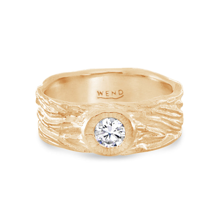 Roots ring bands look like branches or a branches ring with a lab created diamond in certified recycled gold by WEND Jewelry