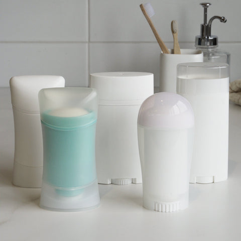 Plastic tubes deodorants from other brands