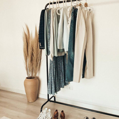 Clothing rack with minimalist clothes