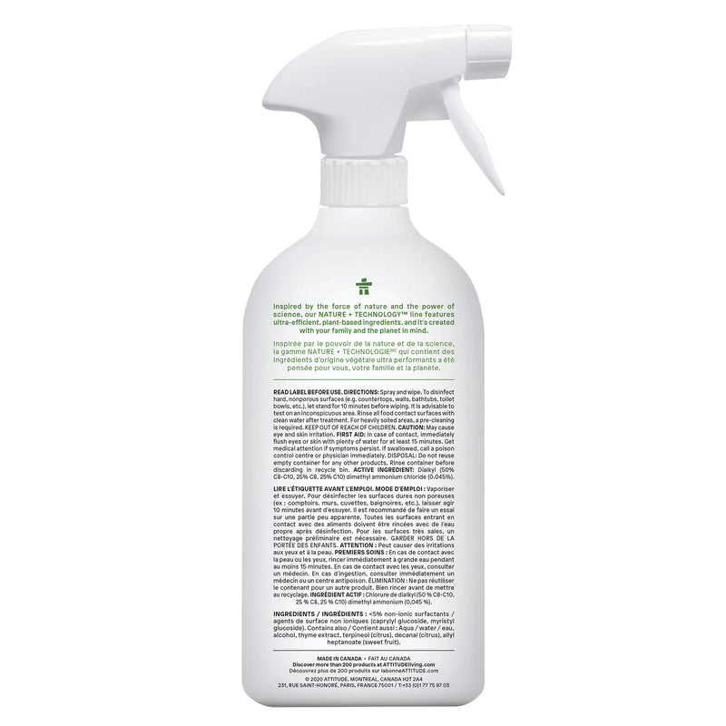 ATTITUDE Nature+ All Purpose Cleaner Disinfectant 99.9% Thyme & Citrus _en?_back?