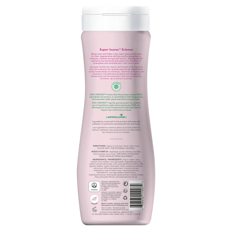 ATTITUDE Super Leaves Shampoo Moisture Rich  Restores and protects adds shine_en?_back?