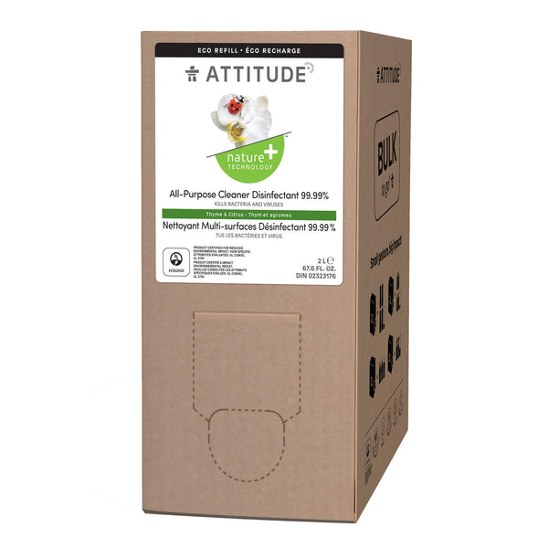 ATTITUDE Nature+ Eco-Refill All Purpose Cleaner Disinfectant 99.9% Thym & Citrus front _en? _main?