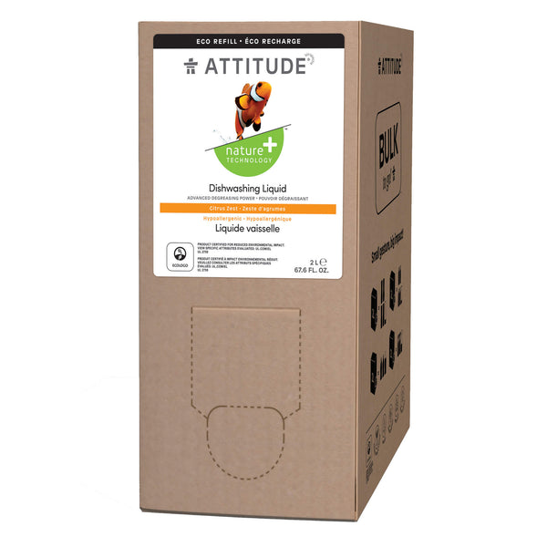 ATTITUTDE Nature+ Eco-Refill Dishwashing Liquid  2L Format  Citrus Zest _en?_main?