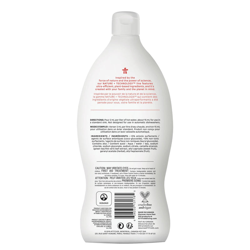 ATTITUDE Nature+ dishwashing liquid pink grapefruit hypoallergenic 13176_en?_back?