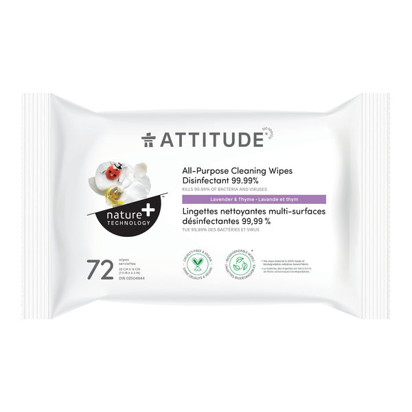 ATTITUDE Nature+ All-Purpose Cleaning Wipes Disinfectant 99.99%  Lavender and thyme_en?_main?