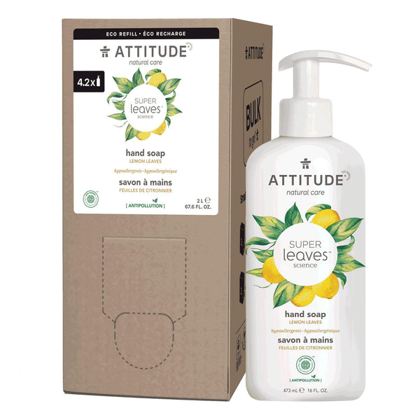 ATTITUDE Liquid Hand Soap + Bulk To Go Eco-Packaging 2L Bundle- Lemon leaves_en?_main?