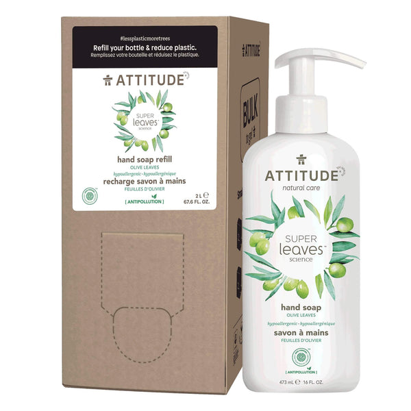ATTITUDE Liquid Hand Soap + Bulk To Go Eco-Packaging 2L Bundle - Olive leaves_en?_main?