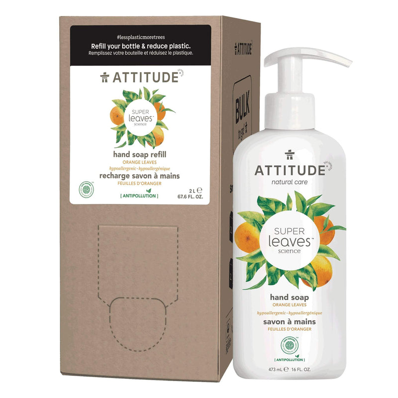 ATTITUDE Liquid Hand Soap + Bulk To Go Eco-Packaging 2L Bundle- Orange leaves_en?_main?