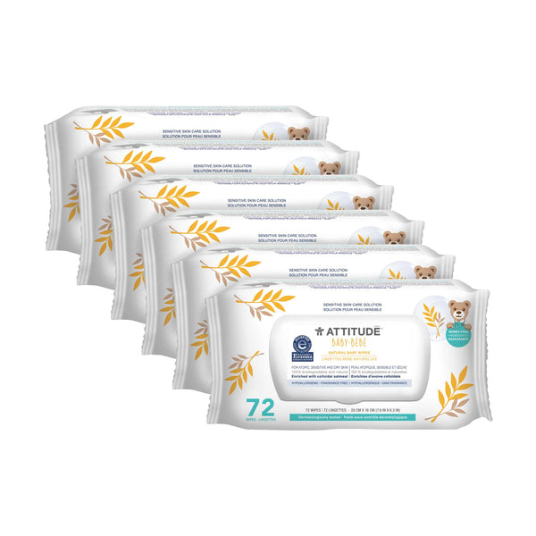 6 packs of ATTITUDE Baby Eczema Solution Baby Wipes Enriched with oatmeal _en?_main?