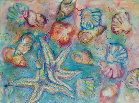 An encaustic, watercolor & oil pastel painting of two starfish & many seashells dancing along the sandy beach.