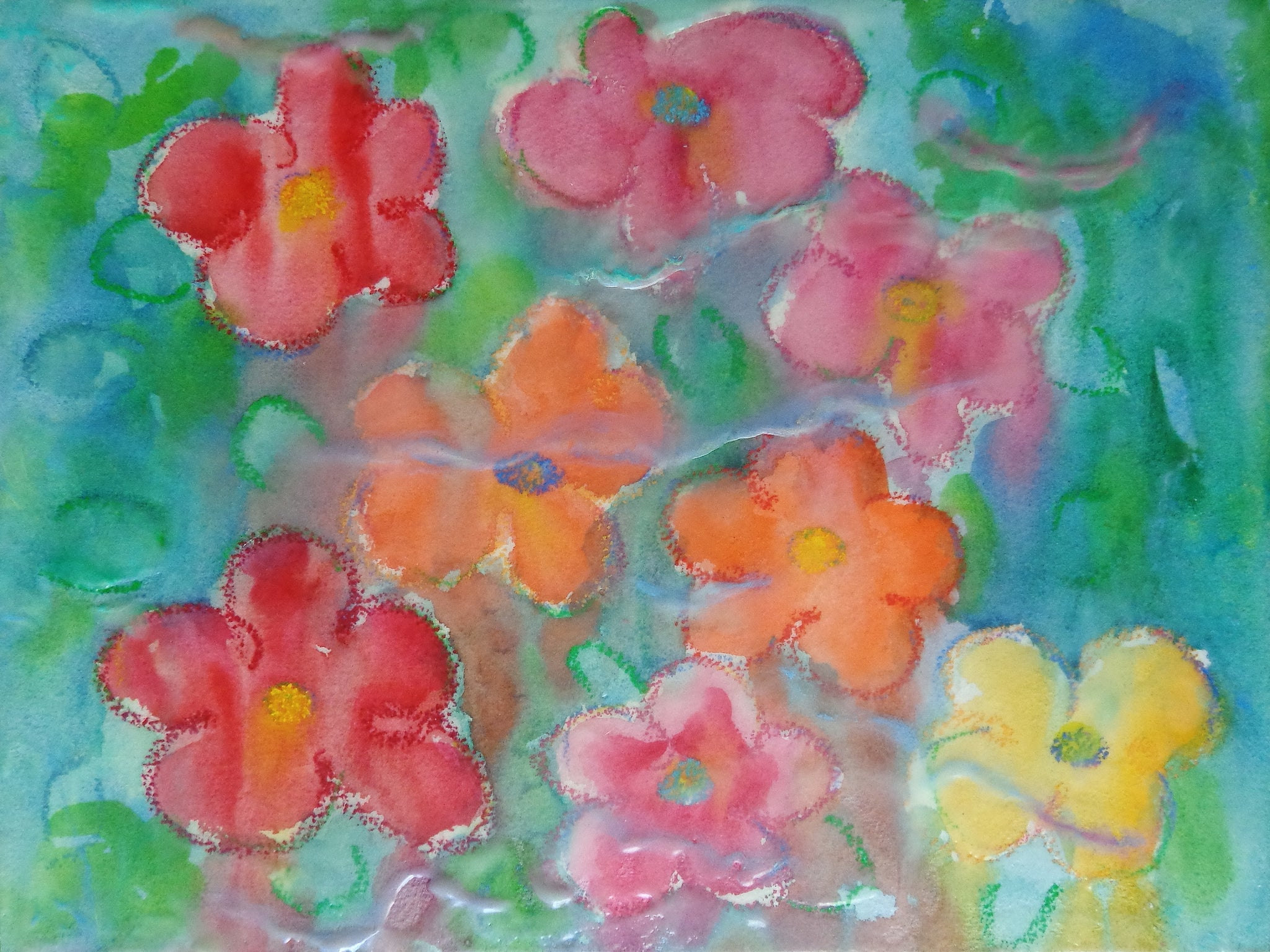 An encaustic, watercolor & oil pastel painting of flowers as an homage to Warhol's flower series.