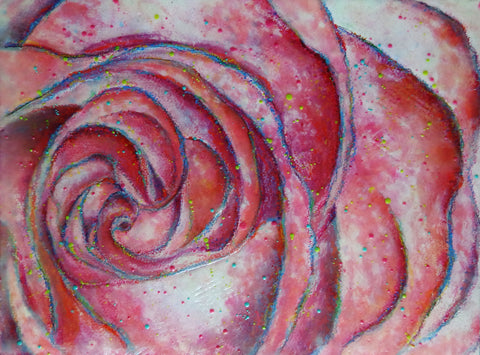 An encaustic, watercolor & oil pastel painting of the spiral nature of a rose.