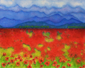 A watercolor painting with stunning views of the Blue Ridge mountains, and lots of summer poppies!