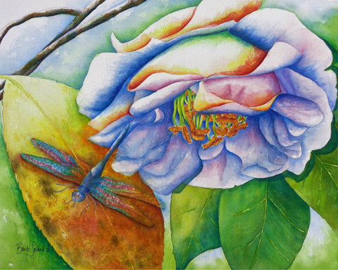A watercolor painting of a camellia & dragonfly found while strolling thru the SC Botanical Garden.