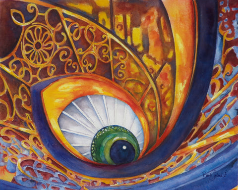 A watercolor painting of a spiral staircase turned masquerade mask found at Chateau de Versailles in France.