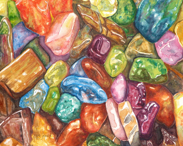 A colorful watercolor painting of little tiny gemstones made BIG!