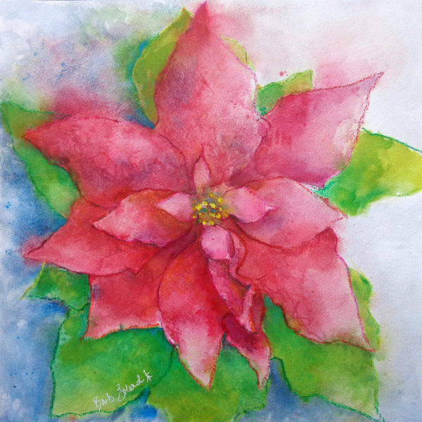 A watercolor painting of a poinsettia meant to brighten your holiday Christmas season.