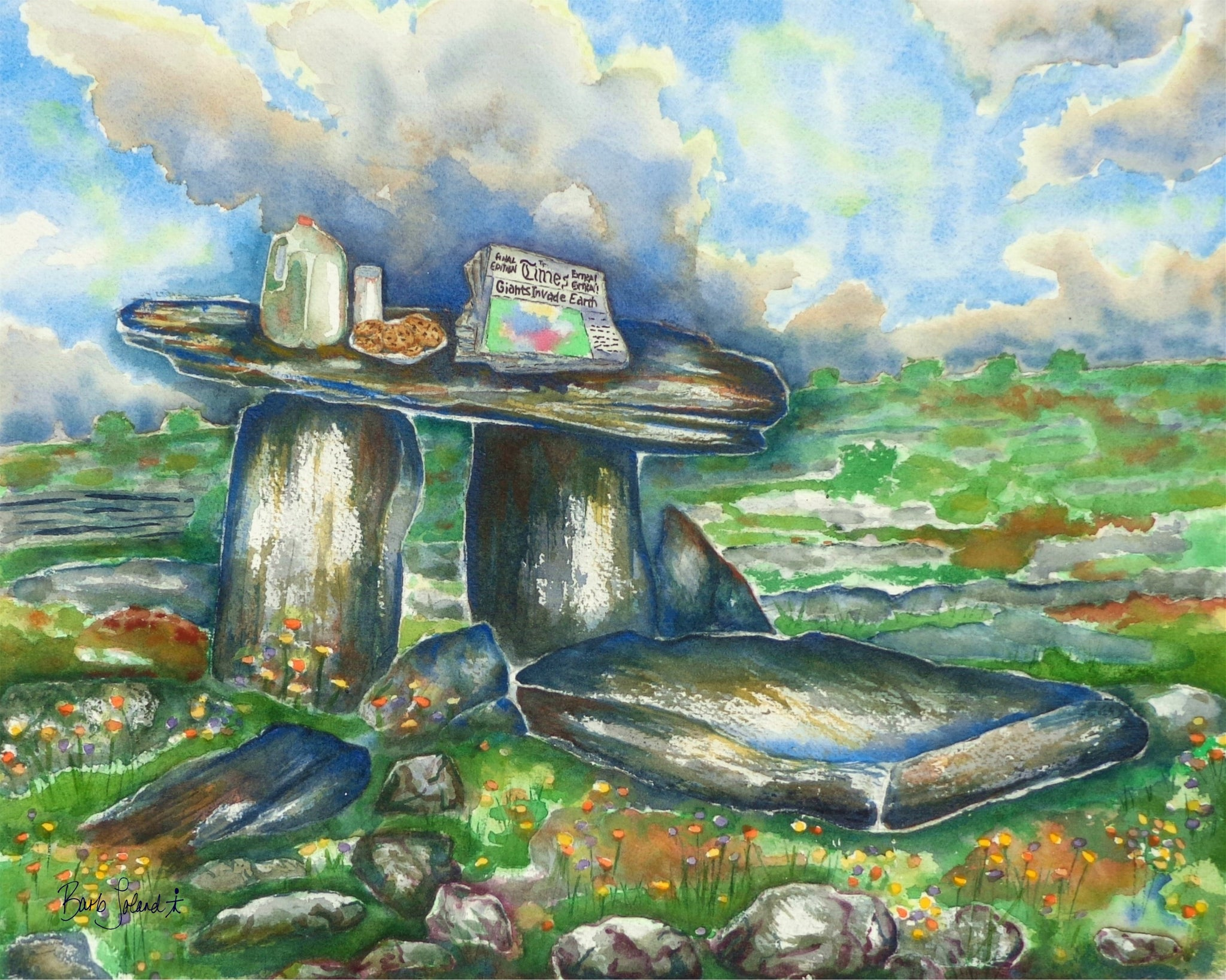 A watercolor painting of an ancient dolmen in the Burrens along the west coast of Ireland.